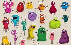 Cinco diseños para niños con monstruos
