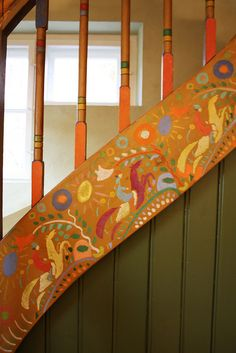 beautiful painted horses on staircase.