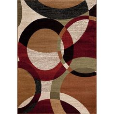 Persian Rugs Circled Multi Colored with Area Rug