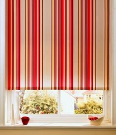 Red Window Blinds - Red Window Shades - Red Draperies