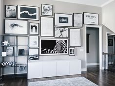 Display That Awesome Plasma TV with the Perfect Stand Gallery Wall Frames, Gallery Walls, Stairway Gallery, Ikea Vittsjo, Desenio Posters, Big Blank Wall, Living Room Redo, Framed Tv, Sofa