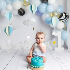 Cake Smash and Splash session for boys in High Wycombe London UK Balloon Arch, Balloon Garland, Hot Air Balloon, Balloons, High Wycombe, Cake Smash, London, Boys, Baby Boys