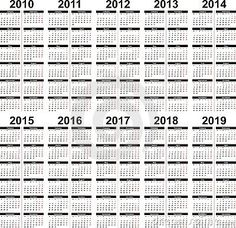 A set of vector calendars from the year 2010 to 2015.