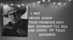 i may never know the reasons why but someday i'll see the good in your goodbye