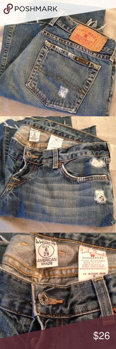 """Lucky Lil Maggie Long Length Hip hugger style. Distressed. 2 buttons. Boot cut. Inseam 31"""". Lucky Brand Jeans Boot Cut"""
