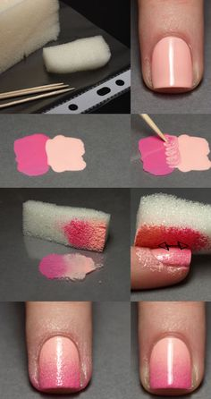 Great as #wedding nails - How To: Color Transitions;  - Paint your nail a solid color  - Place two colors next to each other and blend in the center with a toothpick  - Using a sponge, press the polish onto it  - Dab onto #nails and let dry