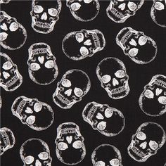 """silver metallic skulls fabric by Timeless Treasures """"Halloween collection"""""""