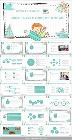 Cute cartoon style teaching design PPT template