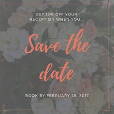 Book your wedding by the end of this month and receive 15% off your reception. So, don't wait, set a date! Call 210-520-4014 to speak to one of our wedding specialists now to start planning.  #SaveTheDate #WeddingPlanning #WeddingInsp #IDo #ISaidYes #Engaged #Engagement #OhSoPerfectProposal #Wedding #Weddings #HappilyEverAfter #Fiance #Feyonce #BrideToBe #MarryMe #GettingMarried #Proposal #HeProposed #SheProposed