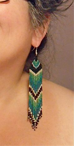 Native American Beaded Earrings Long Teal Blue and Green Seed Bead on Hypoallergenic French Hooks, by BlueTurtleSky       $27.00 via Etsy.com