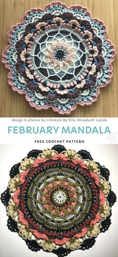This beautiful, flowery mandala will make such a stunning addition to your home decor. You can make it in so many color combinations! This pattern has got a great potential, perfect for all intermediate crocheters out there. Crochet Rug Patterns, Crochet Mandala Pattern, Crochet Blocks, Crochet Designs, Crochet Doilies, Crochet Flowers, Crochet Rugs, Doily Patterns, Thread Crochet