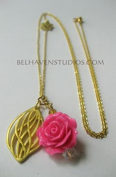 Long Chain Pendant Charms Necklace Crystals pink rose and filigree leaf pendant gold plated necklace Layering jewelry One of Kind https://www.etsy.com/listing/270864427