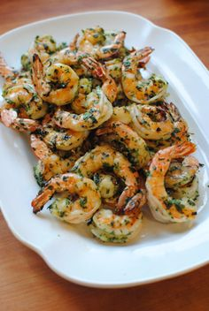Grilled shrimp with garlic and cilantro