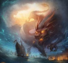 Huge dragon attacking ship on the sea