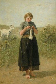 David Adolphe Constant Artz--Girl knitting in the dunes