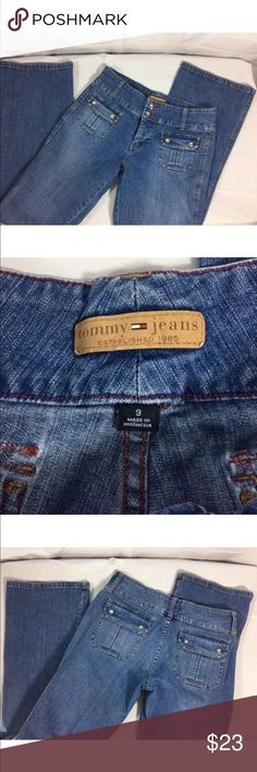 """Tommy Women's Denim Jeans Size 9 Preowned Tommy Womens Blue Denim Jeans  Pants Size 9 Clothing Very Nice Preowned Size 9, Measurements are 30""""Inseam x 39""""Long x 15 Waist, one side only. Good Pre owned condition no flaws, zipper slides well, buttons intact Very nice jeans! Tommy Hilfiger Jeans Boot Cut"""