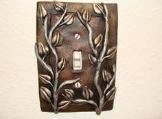 Leaf Leaves Silver Vines Light Switch Cover Polymer Clay Lightswitch Plate Metallic