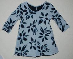Dark blue, silver gray med. weight cotton jersey, metallic blue fabric paint, hand dyed dark blue cotton thread.  Alabama chanin technique, revers applique