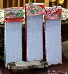 Other: Christmas note pads Christmas Note, Christmas Craft Show, Christmas Paper Crafts, 3d Paper Crafts, Paper Gifts, Christmas Projects, Holiday Crafts, Xmas, Cadeau Grand Parents