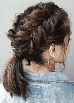 45 elegant ponytail hairstyles for special occasions - StayGlam hairstyle . - 45 elegant ponytail hairstyles for special occasions – StayGlam hairstyle …, # occasions - French Braid Short Hair, Braids For Short Hair, Short Hair Cuts, French Braids, Short Ponytail Hairstyles, Newest Hairstyles, Hairstyles Haircuts, Teenage Hairstyles, Medium Length Hairstyles