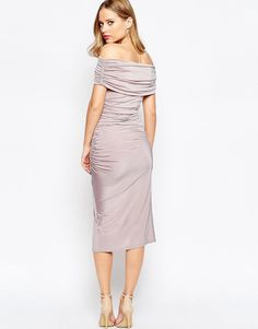 Off The Shoulder Bardot Slinky Drape Midi Dress by ASOS, Lilac Color. Midi dress by ASOS Collection Slinky stretch fabric Bardot neckline Off-shoulder design Ruching to the side Wrap skirt Close cut bodycon fit.