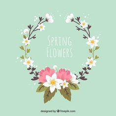 coroa de flores bonito Vetor grátis                                                                                                                                                     Mais