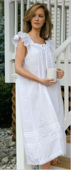 A Victorian Nightgown sheer enough to reveal bra cups and a sweet visible panty line (VPL). #vpl