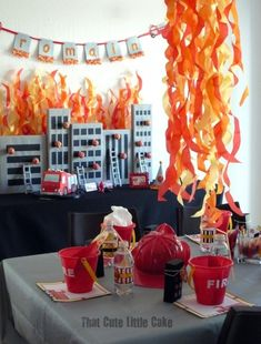 Looking for the hottest fireman party ideas? Fireman Party: Romain's Party is on Fire. Sirens are blazing for this adorable Firetruck Party! With fun flickering flames and burning building.this party is sure to impress! Fireman Party, Firefighter Birthday, Fireman Sam, Birthday Party Celebration, 4th Birthday Parties, 3rd Birthday, Fire Truck Birthday Party, Birthday Ideas, Party Party