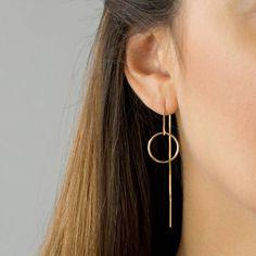 Etsy Circle Threader Earrings, Long Dangle Earrings, Dainty Everyday Earring, Gold Threader Earrings, Ste