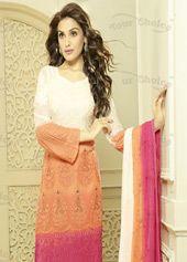 Off White Chiffon Pakistani Style Suit 67350