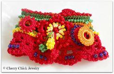 Rasta Beaded Statement Cuff Crochet Bracelet in Red, Green, and Yellow  #Crochet #CrochetBracelet #CrochetJewelry #CherryChick #CuffBracelet