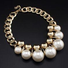 MANILAI Grandes Perlas de Imitación Collares Joyería de Las Mujeres Accesorios de Moda de Color Oro Cadena Chunky Gargantillas Collar de Perlas #1475