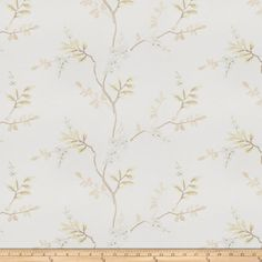 Fabricut Linen Embroidered Twill Brookdale Opal from @fabricdotcom  This embroidered sanded twill blend fabric is medium/heavyweight and perfect for window treatments, bedding such as duvet covers, pillow shams, accent pillows and upholstery. This fabric features a soft hand and an embroidered design. Colors include pale green, pale blue, tan and pearl on solid ivory.