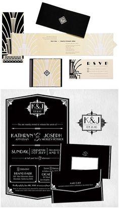 Art Deco Great Gatsby Inspired Wedding Invitations