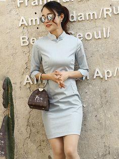 Casual Striped Chic Modern Qipao / Cheongsam Dress - CozyLadyWear
