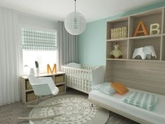 Mint green walls and polka-dot sheeting and window shade unify this nursery, featuring light natural wood toned flooring and bookshelf, with day bed built in for adults, next to white and natural wood crib.