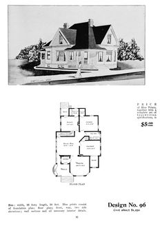 United States, Design No. 96 A full. - Vintage Home Plans Victorian House Plans, Victorian Homes, Cottages And Bungalows, Bungalow House Plans, Hip Roof, Cottage Plan, Ideal Home, Floor Plans, How To Plan