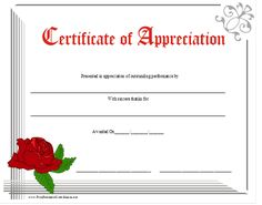 An attractive floral certificate of appreciation with red lettering and a large red rose. Free to download and print