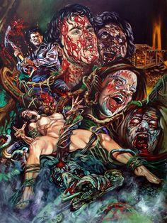 Ilustración de Rick Melton en homenaje a Evil Dead