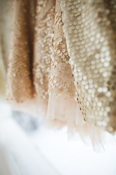 sequin fabric, raw edges