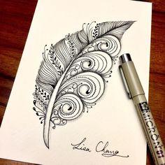 553 Likes, 2 comments - Lisa Cha . Doodle Art Drawing, Zentangle Drawings, Mandala Drawing, Pencil Art Drawings, Zentangle Patterns, Art Sketches, Zentangles, Feather Drawing, Feather Art