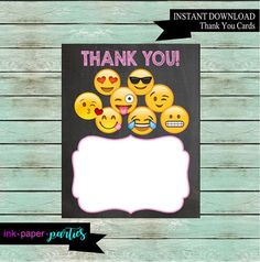 Printable Emoji Emojis Birthday Thank You Note Cards DIY