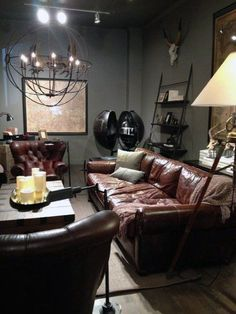 Tufted Leather Living Room Furniture Restoration Hardware Brown Leather sofa Over Sized Wall New Living Room, My New Room, Living Room Sofa, Apartment Living, Home And Living, Living Room Decor, Man Cave Living Room, Manly Living Room, Bohemian Apartment
