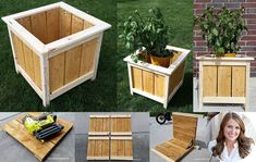 Best selection of free woodworking DIY plans for building a square planter box. Square planters for every style and taste. Easy, simple and all beautiful. Wooden Planter Boxes Diy, Large Planter Boxes, Wooden Flower Boxes, Square Planter Boxes, Diy Wood Planters, Diy Flower Boxes, Planter Box Plans, Cedar Planter Box, Large Planters