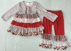 Girls Red & Gray Chevron Outfit