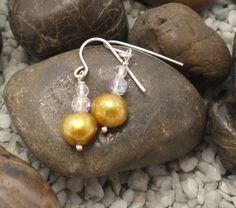 Gold pearl and clear quartz earrings £8.00