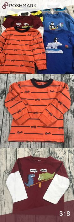 [Gymboree] Boys 3T Lot Of Play Shirts [Gymboree] Boys 3T Lot Of Play Shirts  •all of the tags are cut out of the shirts but they fit like a 3t. •these are all in PLAY CONDITION. There will be stains on some or all of the shirts. Not many are noticeable, but they are definitely in play condition so no returns will be accepted on them. •please ask any questions • I will not bundle this with any other items Gymboree Shirts & Tops Tees - Long Sleeve