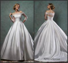 Newest Long Sleeve Illusion Wedding Dresses 2016 Amelia Sposa Bateau Neck Satin A-Line Stunning Custom Vestido De Novia Bridal Gowns Ball Online with $132.18/Piece on Hjklp88's Store