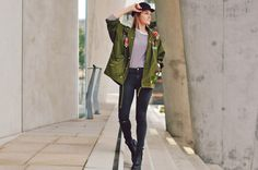 parka, patches, skinny jeans, highwaist, destroyed, ringeshirt, hat, hut, schiffermütze, boots, fall, herbst, winter