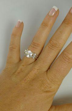 Herkimer Diamond Ring Hugs and Kisses Style Aquamarine by greengem